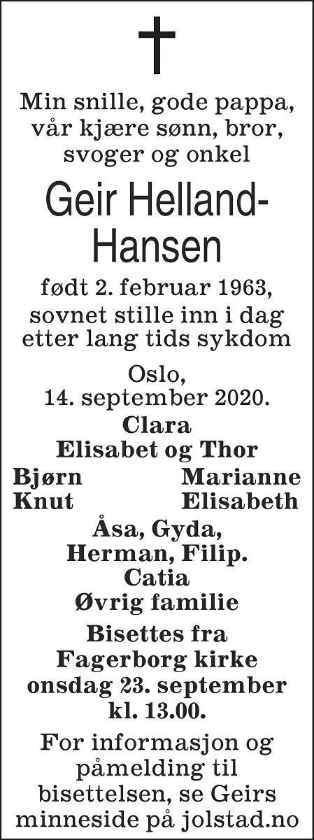 Geir Helland-Hansen Dødsannonse
