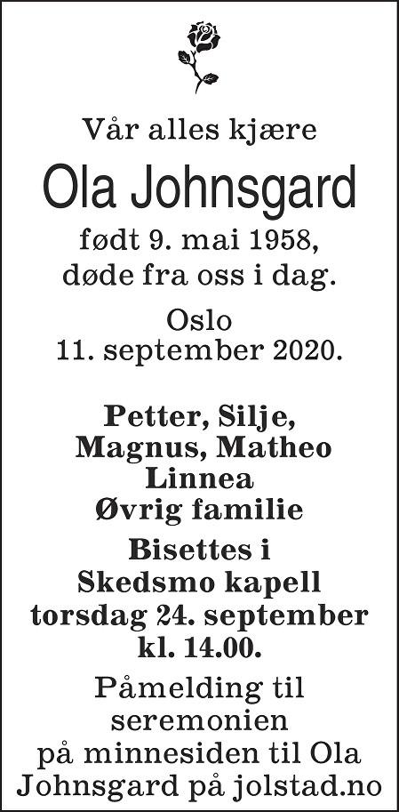 Ola Johnsgard Dødsannonse