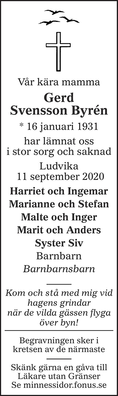 Gerd Margareta Svensson Byrén Death notice