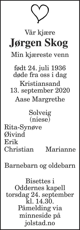 Jørgen Skog Dødsannonse