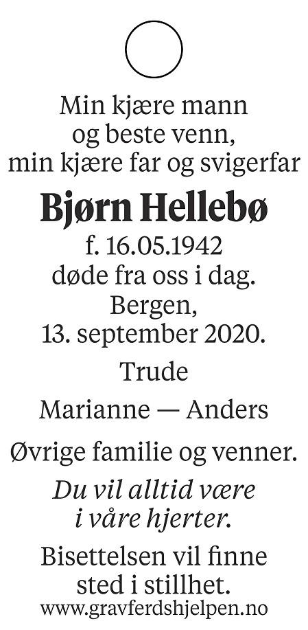 Bjørn Hellebø Dødsannonse