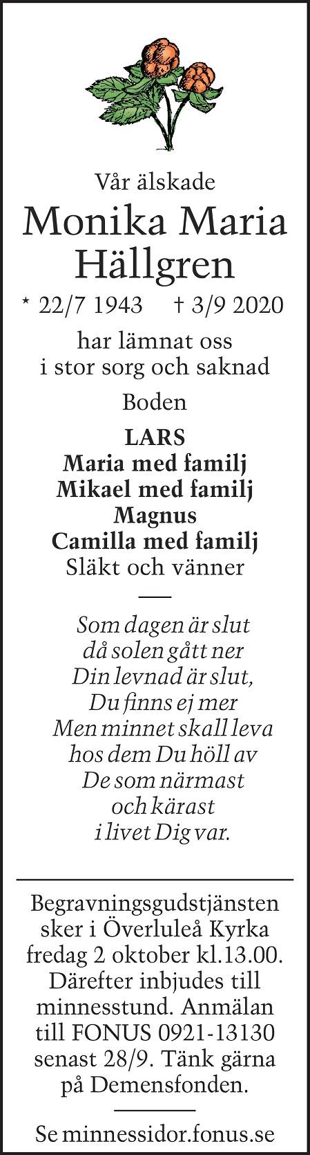 Monika Maria Hällgren Death notice