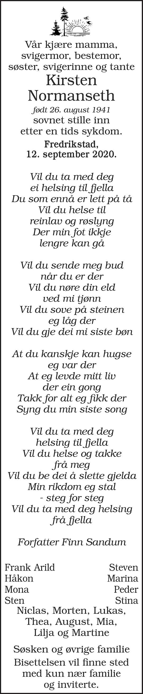 Kirsten Alise Normanseth Dødsannonse