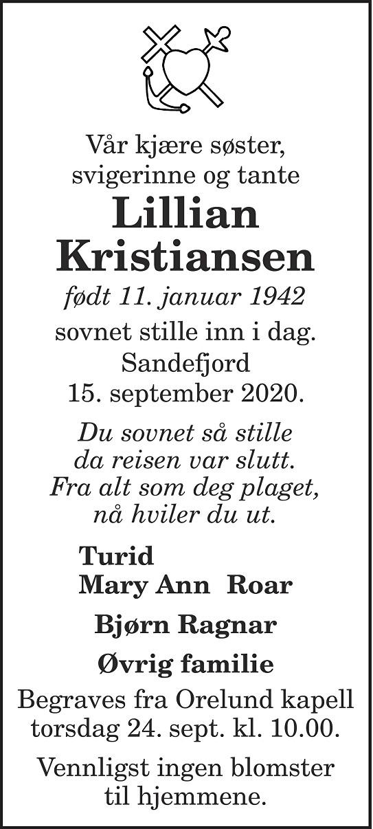 Lillian Kristiansen Dødsannonse