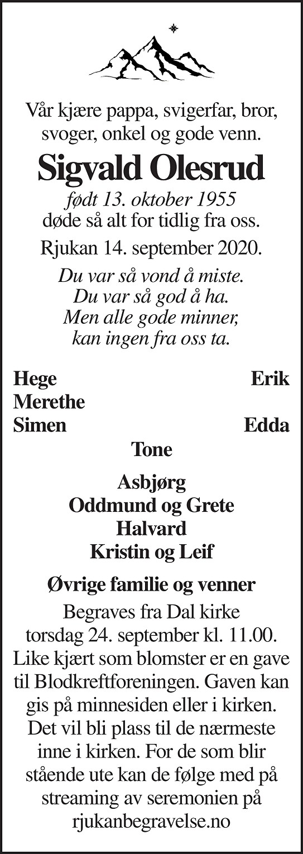 Sigvald Olesrud Dødsannonse