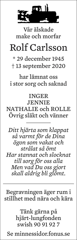 Rolf Carlsson Death notice