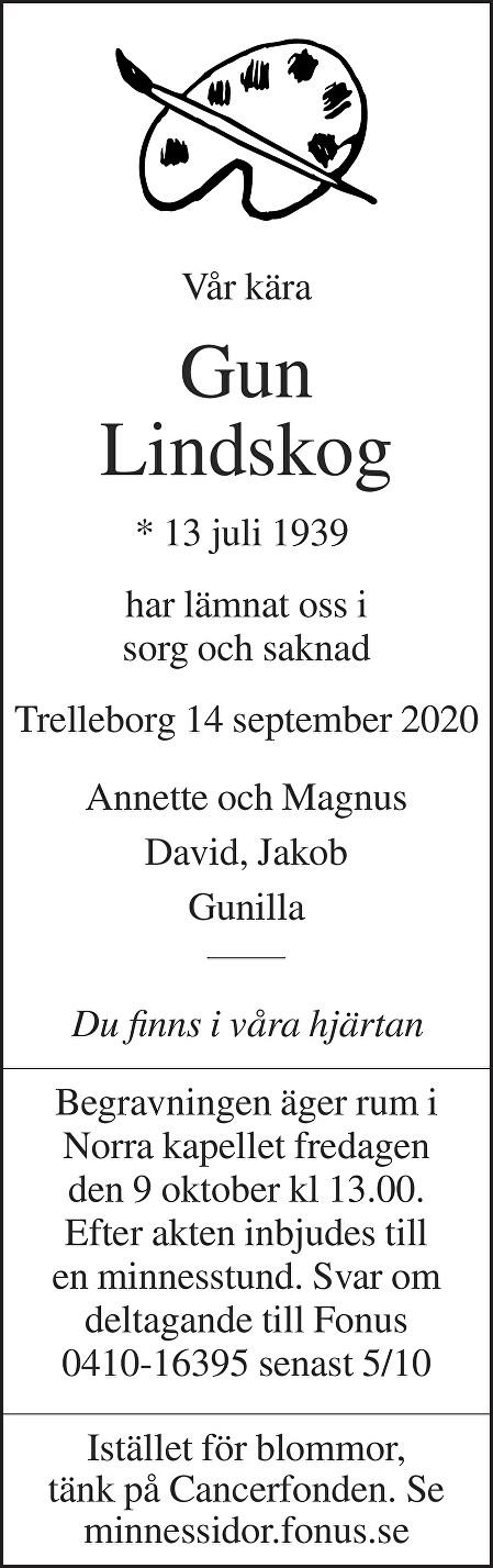 Gun Lindskog Death notice