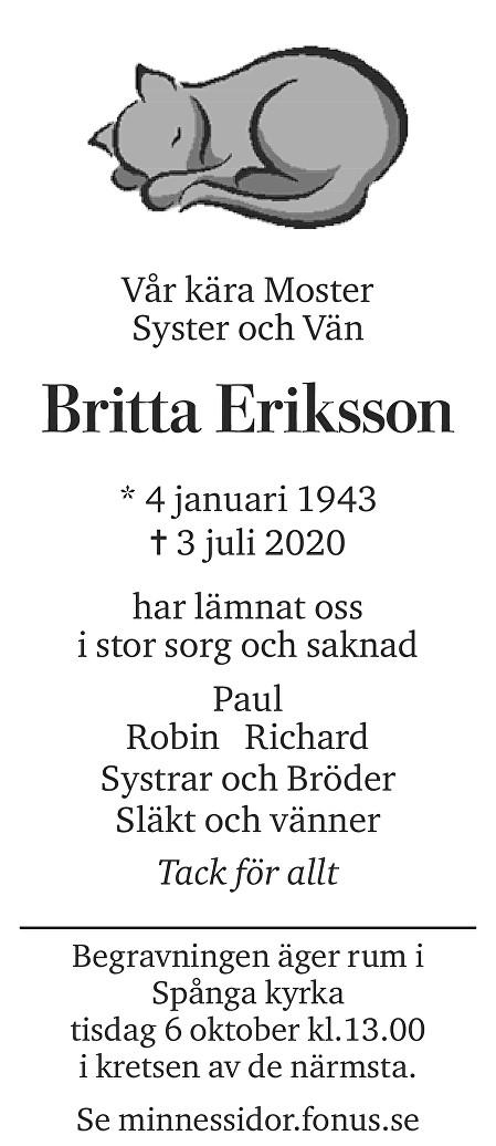 Britta Eriksson Death notice