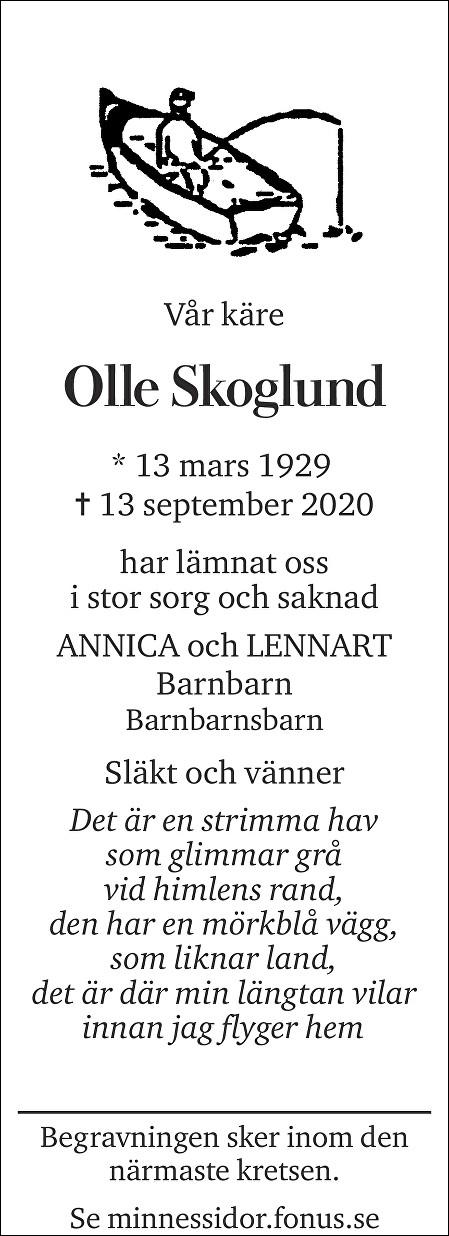 Olle Skoglund Death notice