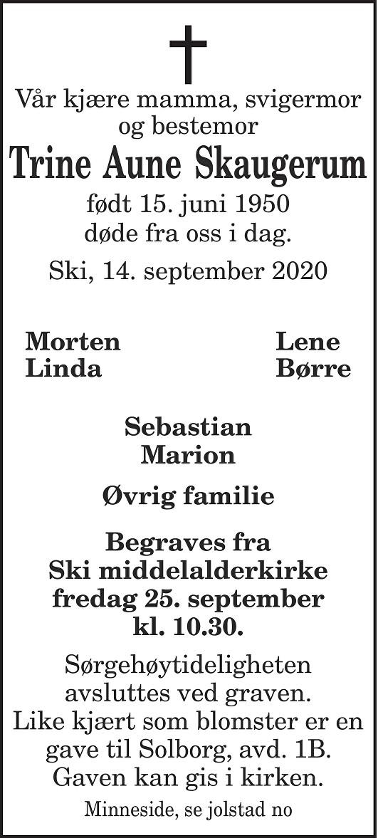 Trine  Aune Skaugerum Dødsannonse