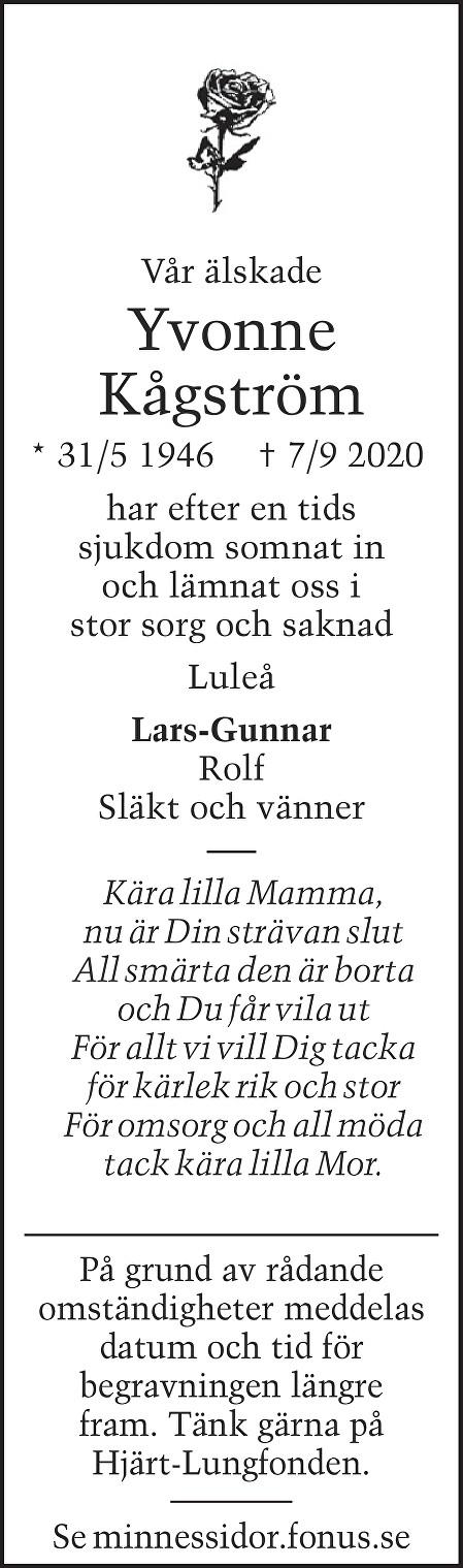 Yvonne Kågström Death notice