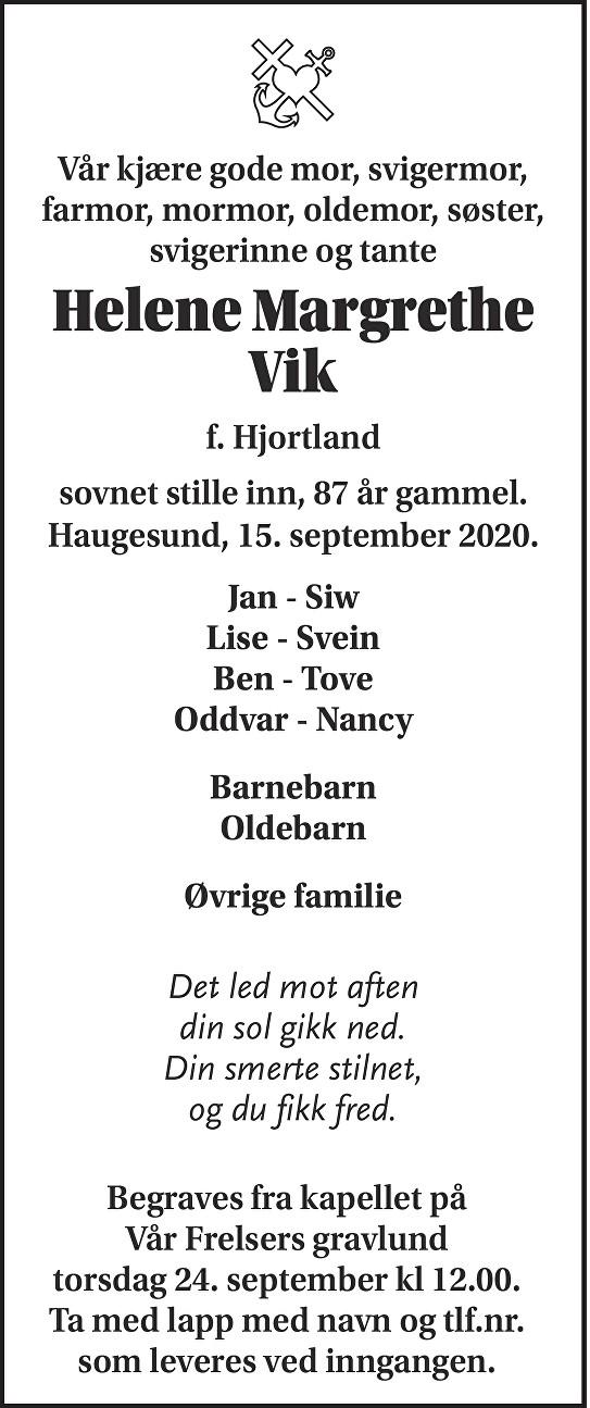 Helene Margrethe Vik Dødsannonse