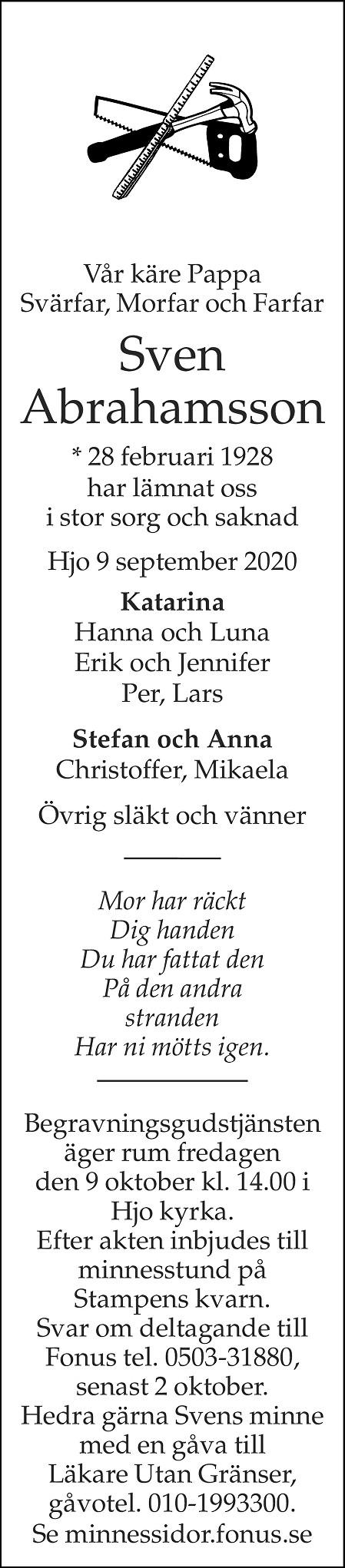 Sven Abrahamsson Death notice