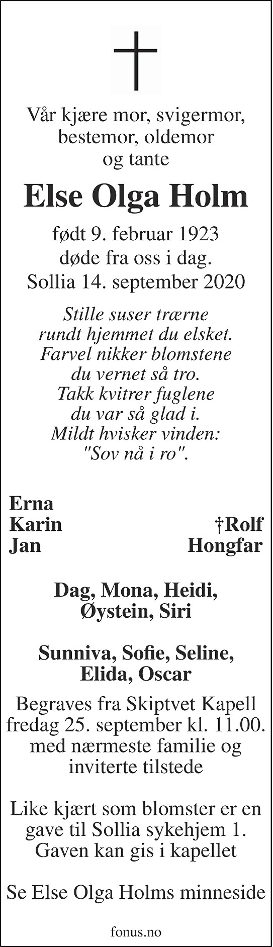 Else Olga Holm Dødsannonse