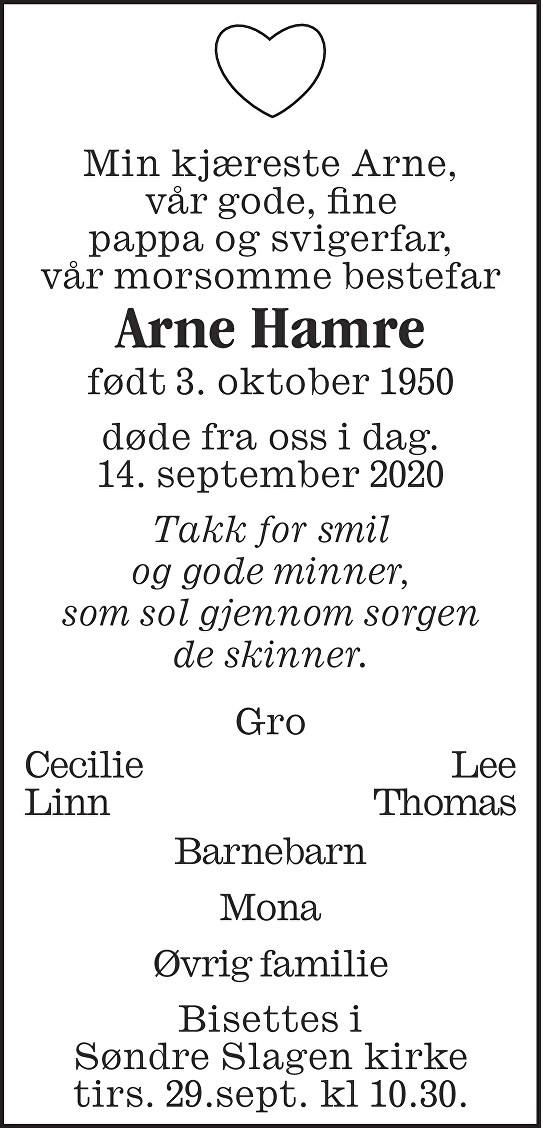 Arne Hamre Dødsannonse