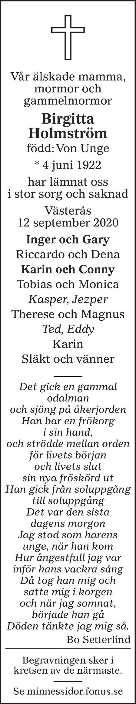 Birgitta Holmström Death notice