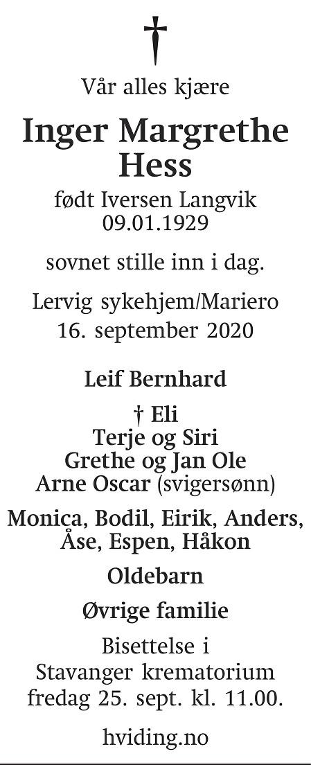 Inger Margrethe Hess Dødsannonse