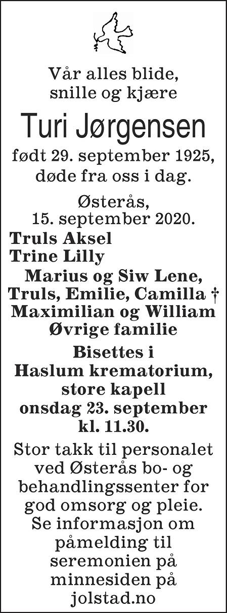 Turi Jørgensen Dødsannonse