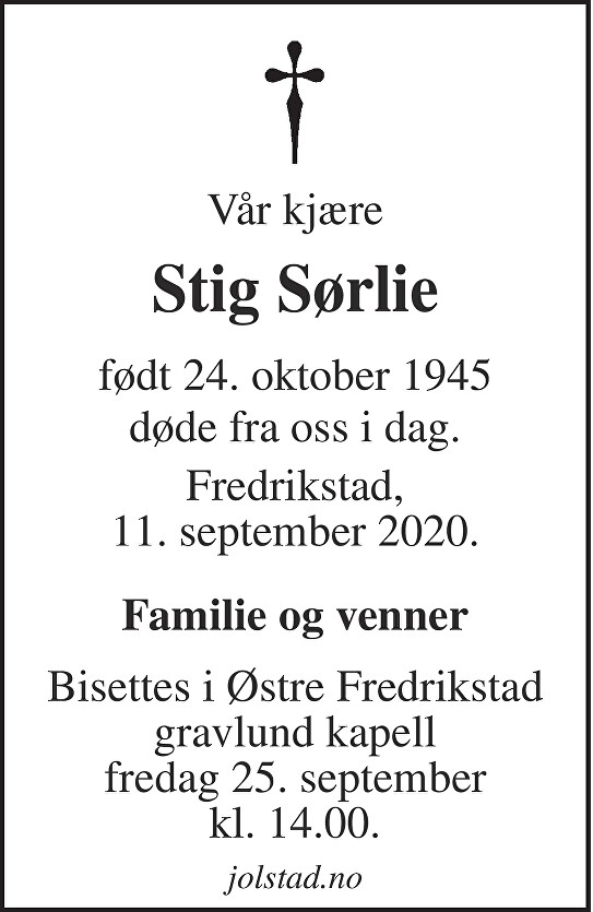 Stig Sørlie Dødsannonse