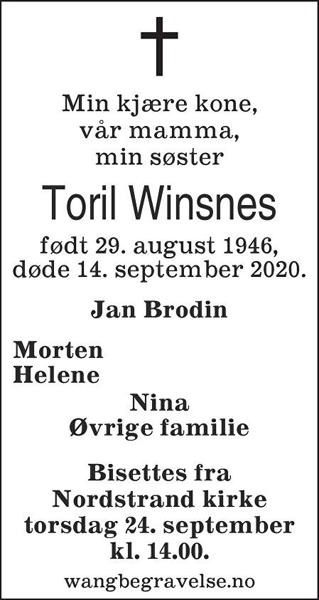 Toril Winsnes Dødsannonse
