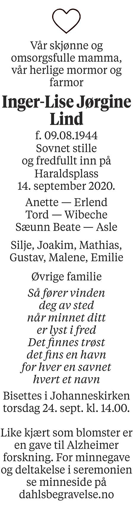 Inger-Lise Jørgine Lind Dødsannonse