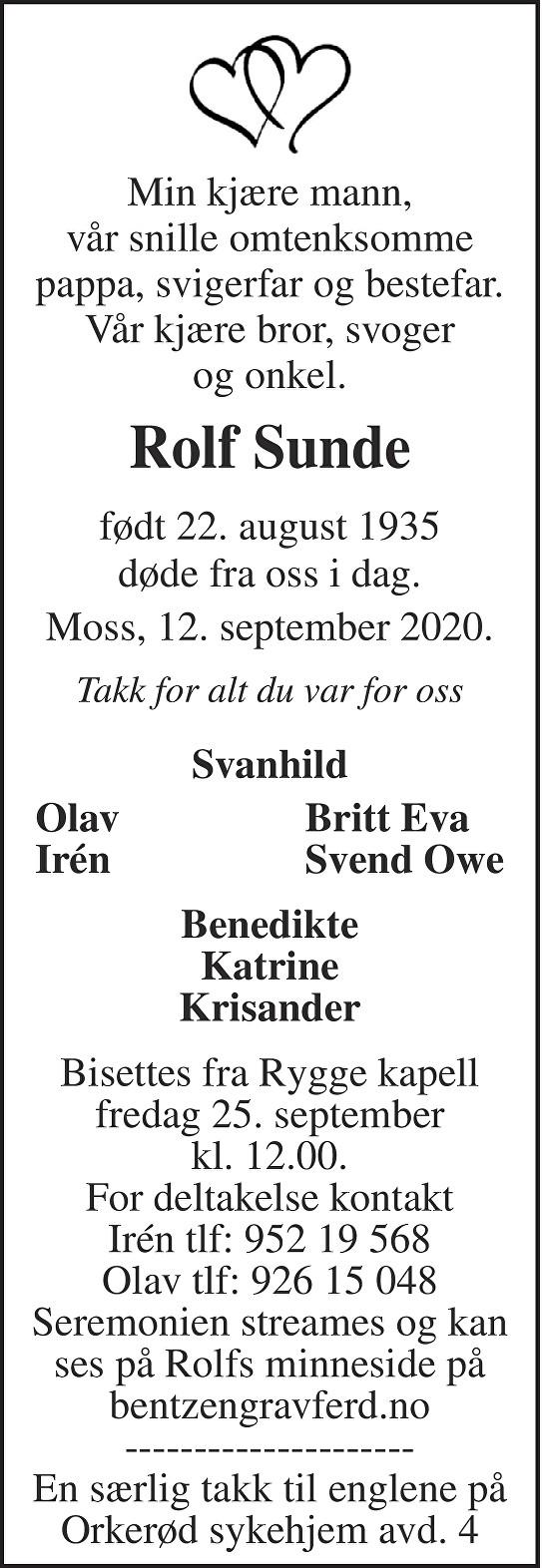 Rolf Sunde Dødsannonse