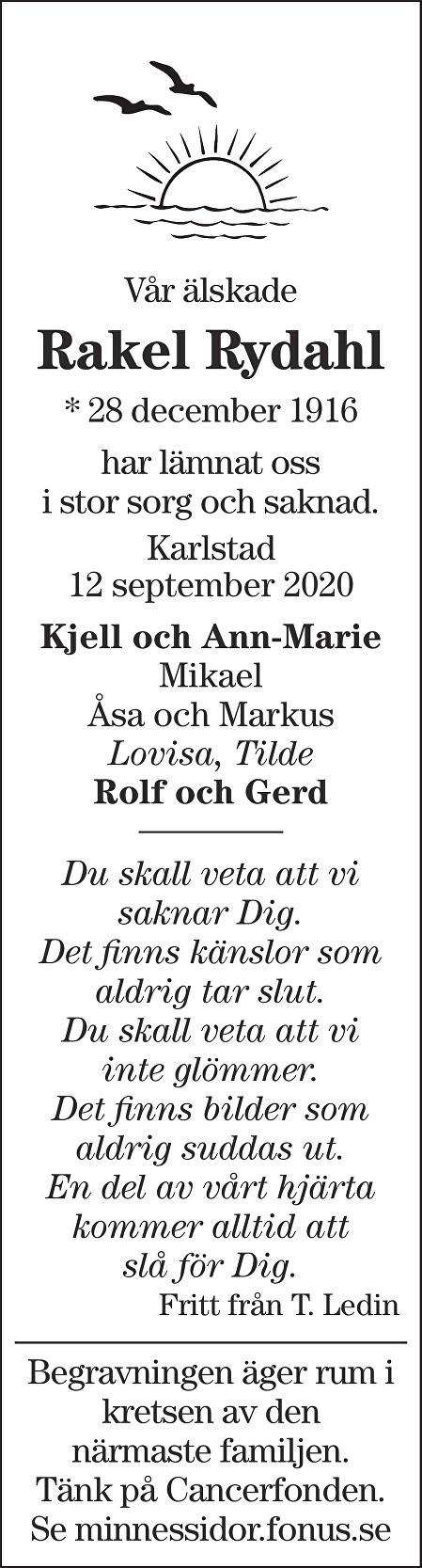 Rakel Rydahl Death notice