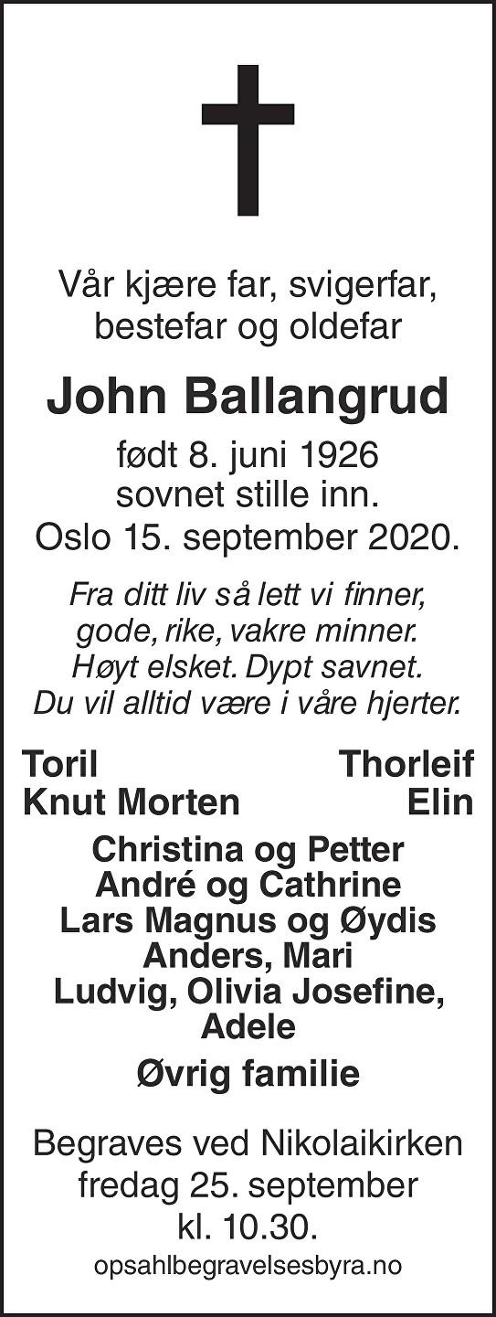John Ballangrud Dødsannonse