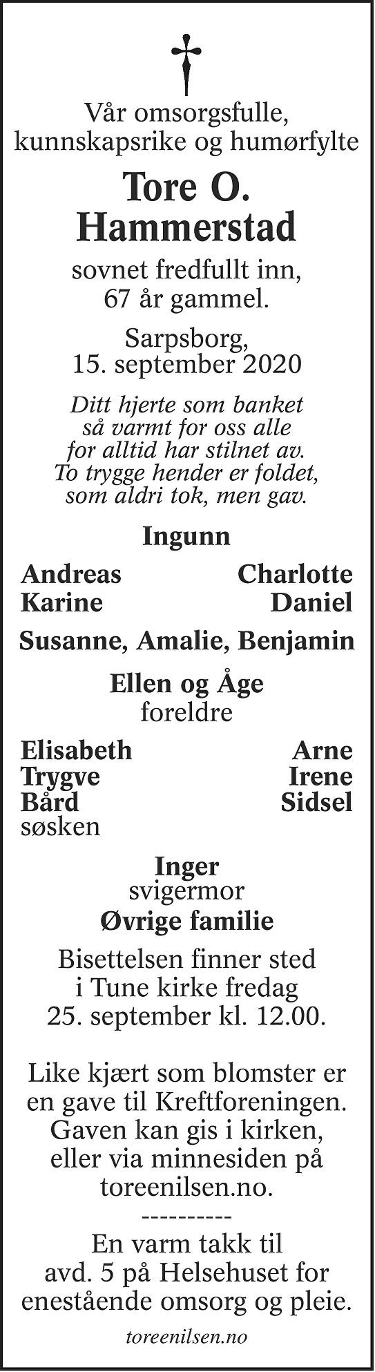 Tore Oddvar Hammerstad Dødsannonse