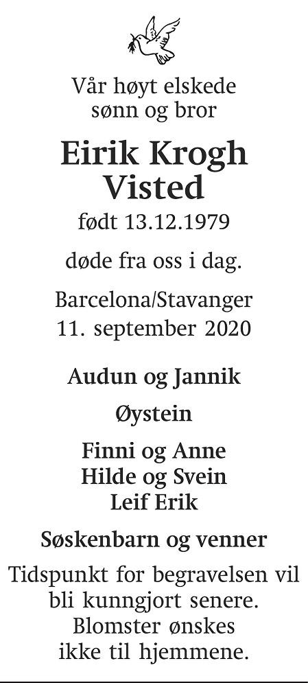 Eirik Krogh Visted Dødsannonse