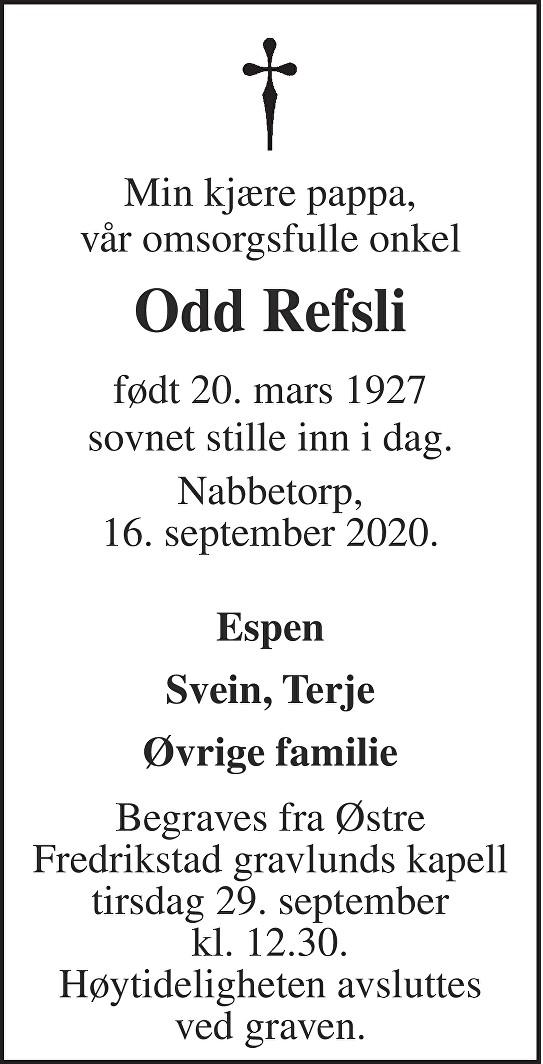 Odd Ivar Refsli Dødsannonse