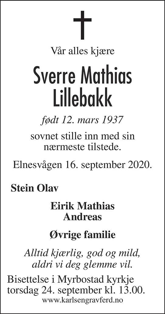 Sverre Mathias  Lillebakk Dødsannonse