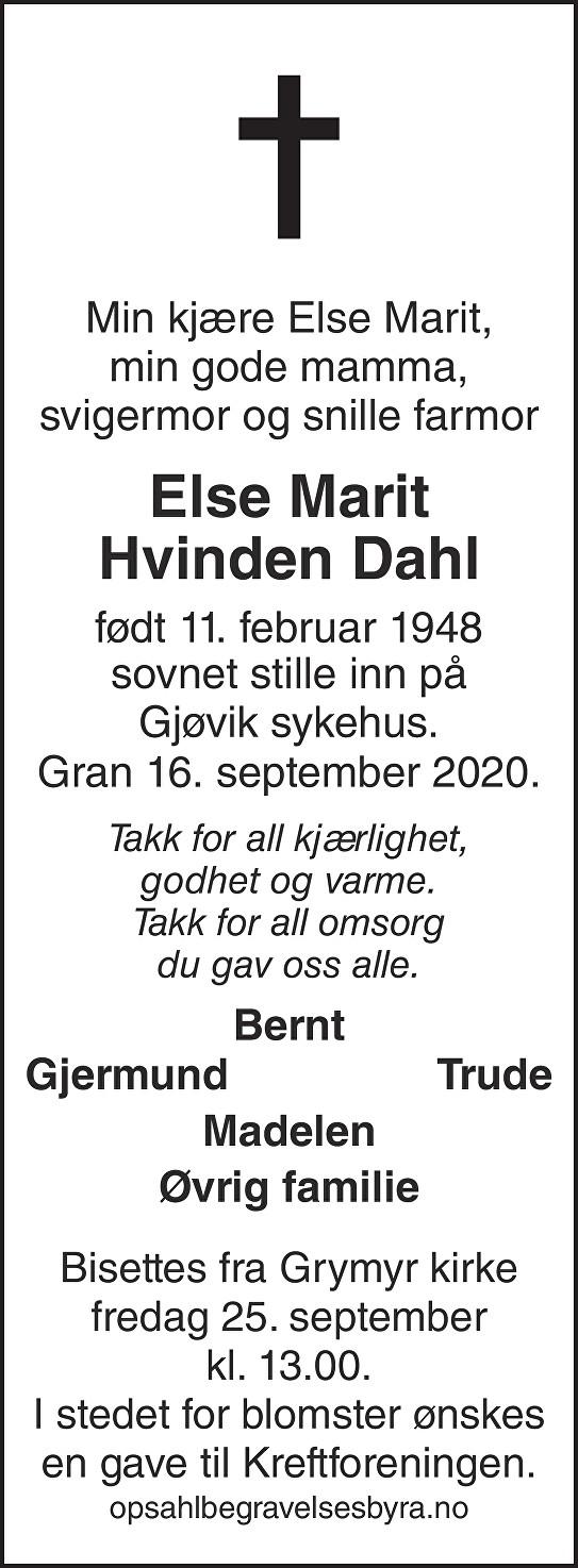 Else Marit Hvinden Dahl Dødsannonse