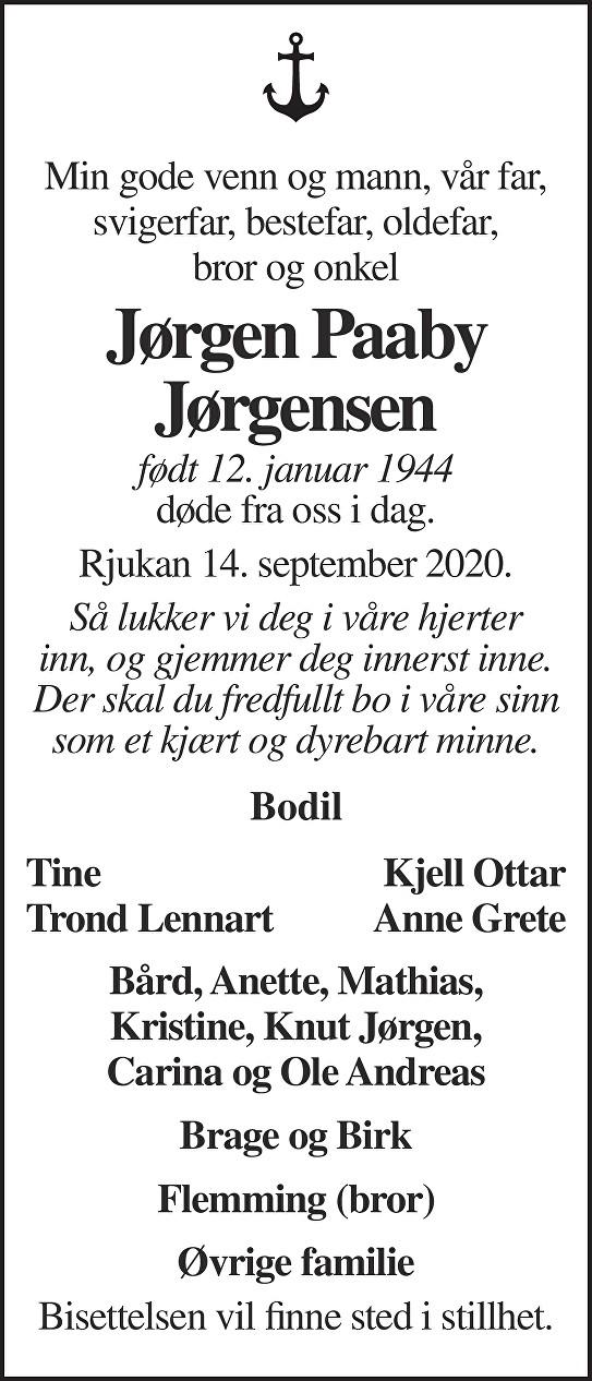 Jørgen Paaby Jørgensen Dødsannonse