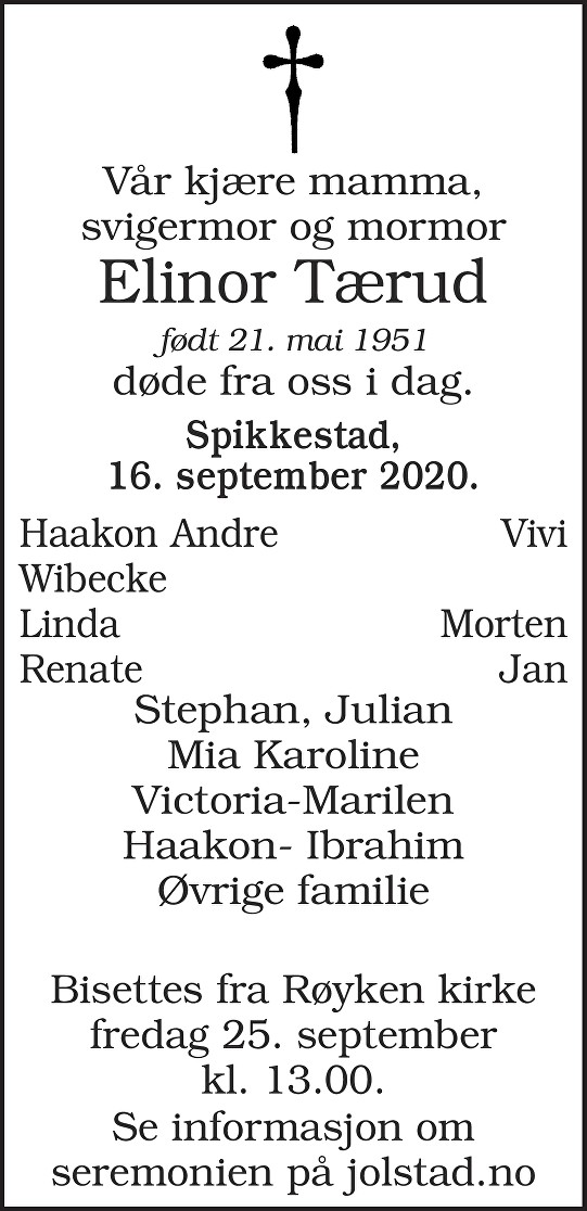 Elinor Tærud Dødsannonse