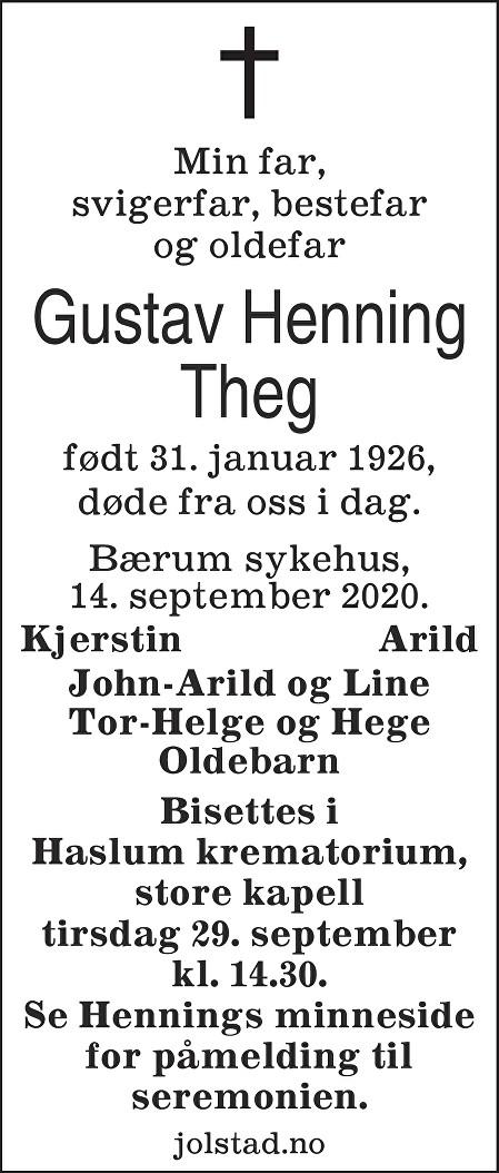 Gustav Henning Theg Dødsannonse