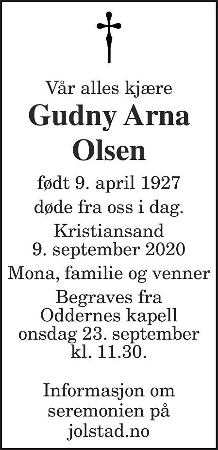 Gudny Arna Olsen Dødsannonse