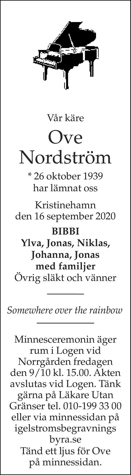 Ove Nordström Death notice