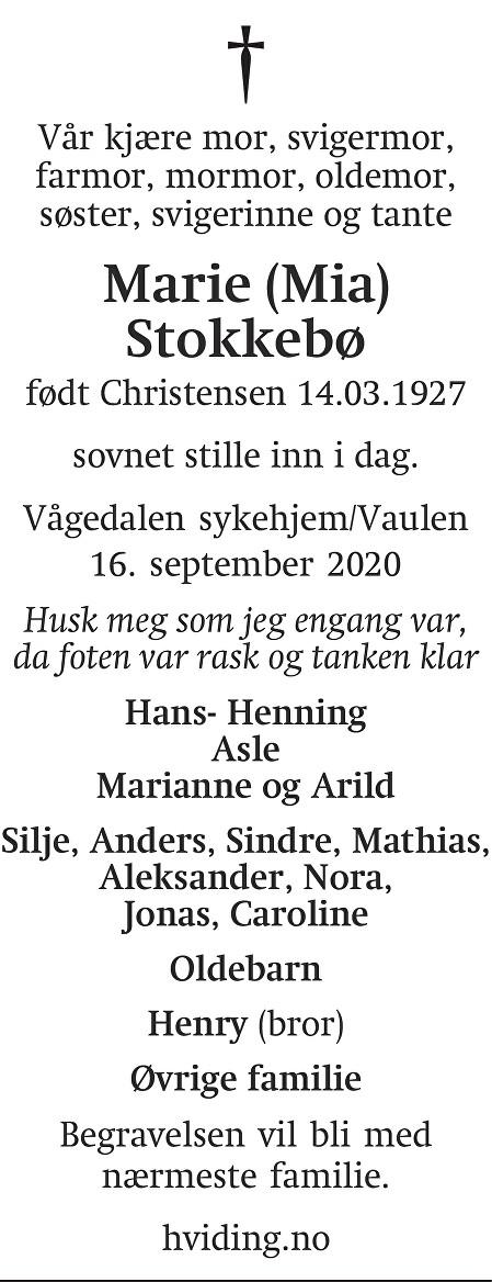 Marie Stokkebø Dødsannonse