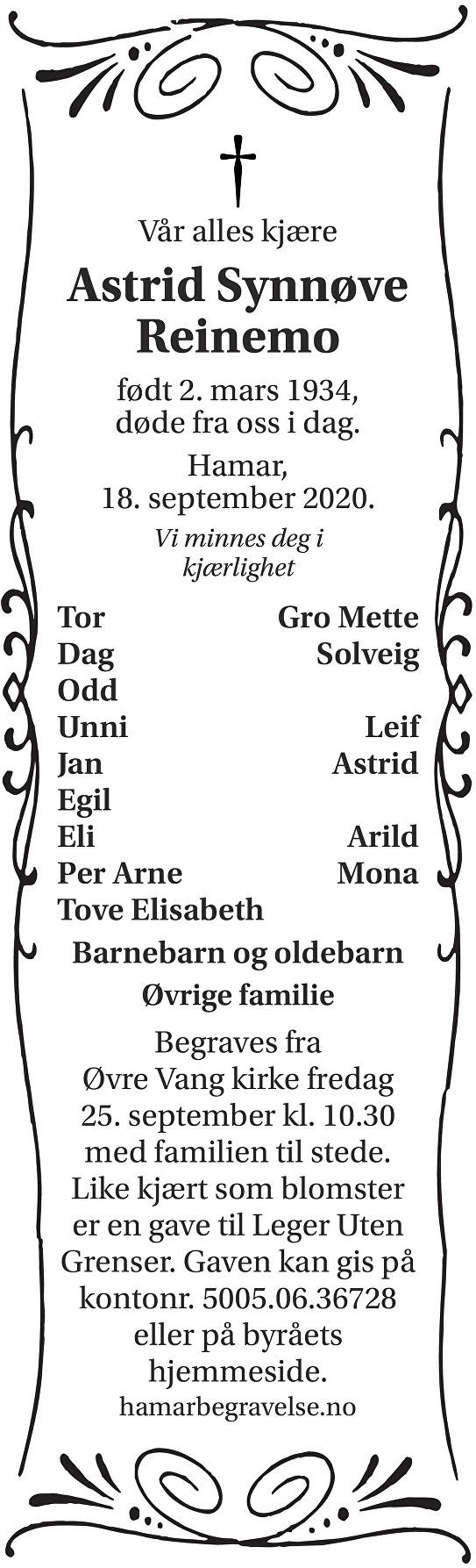 Astrid Synnøve Reinemo Dødsannonse