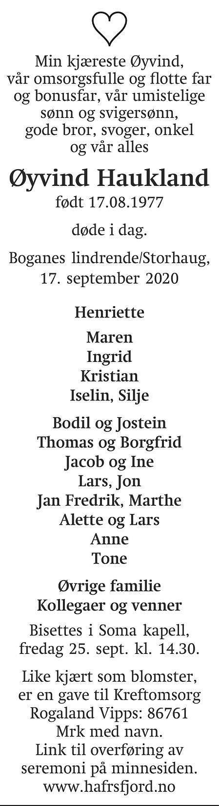 Øyvind  Haukland Dødsannonse
