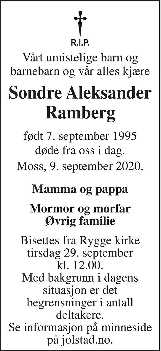 Sondre Aleksander Ramberg Dødsannonse