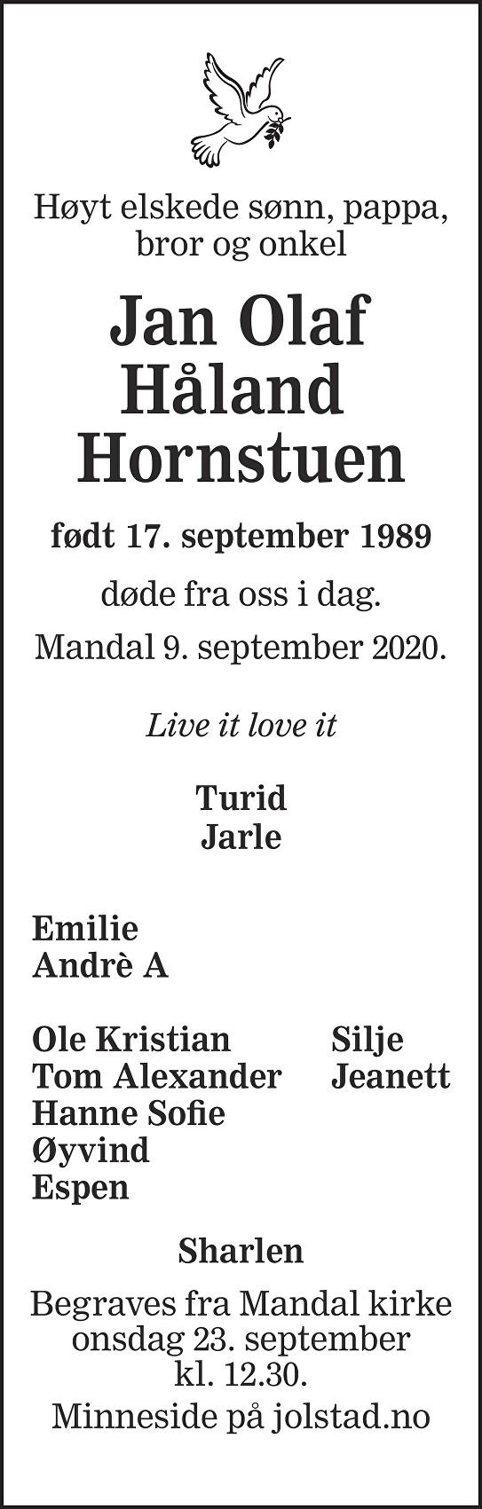 Jan Olaf Håland Hornstuen Dødsannonse