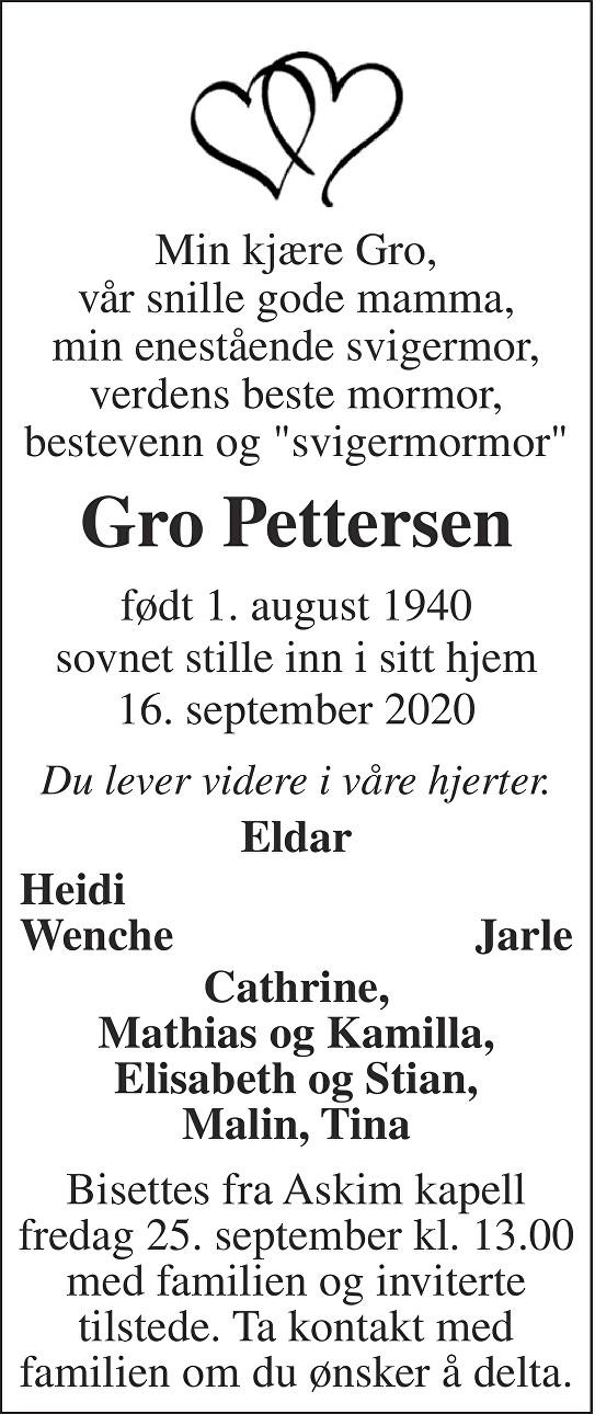 Gro Pettersen Dødsannonse