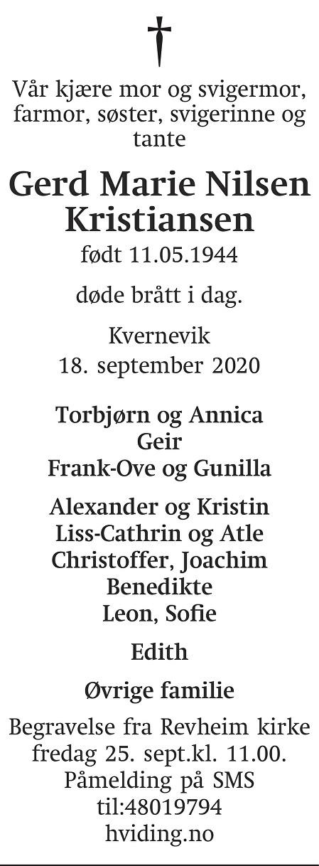Gerd Marie Nilsen Kristiansen Dødsannonse