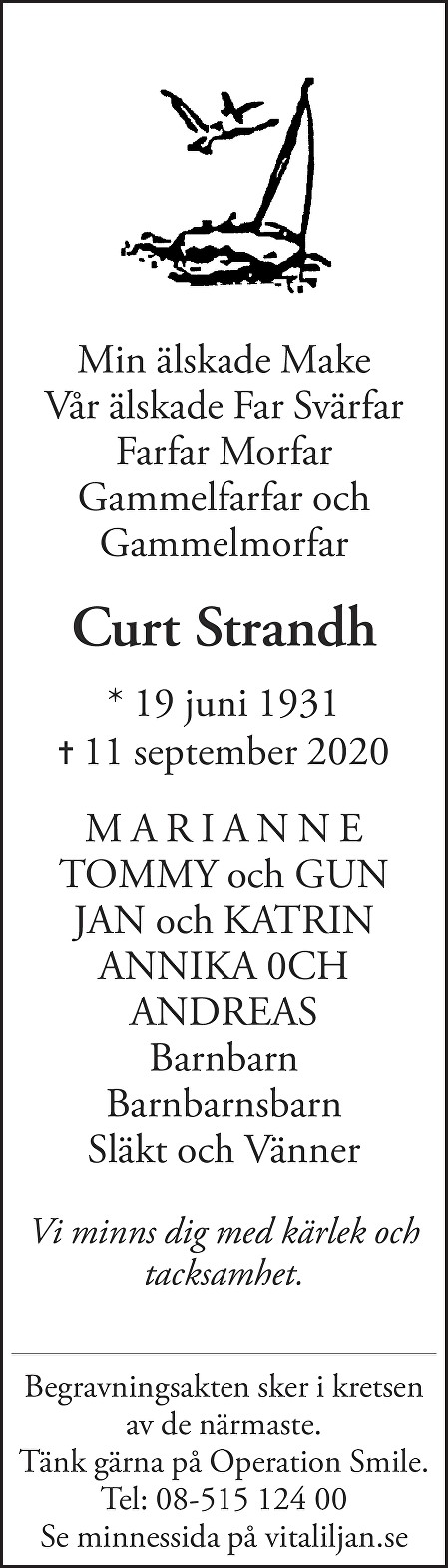 Curt Strandh Death notice