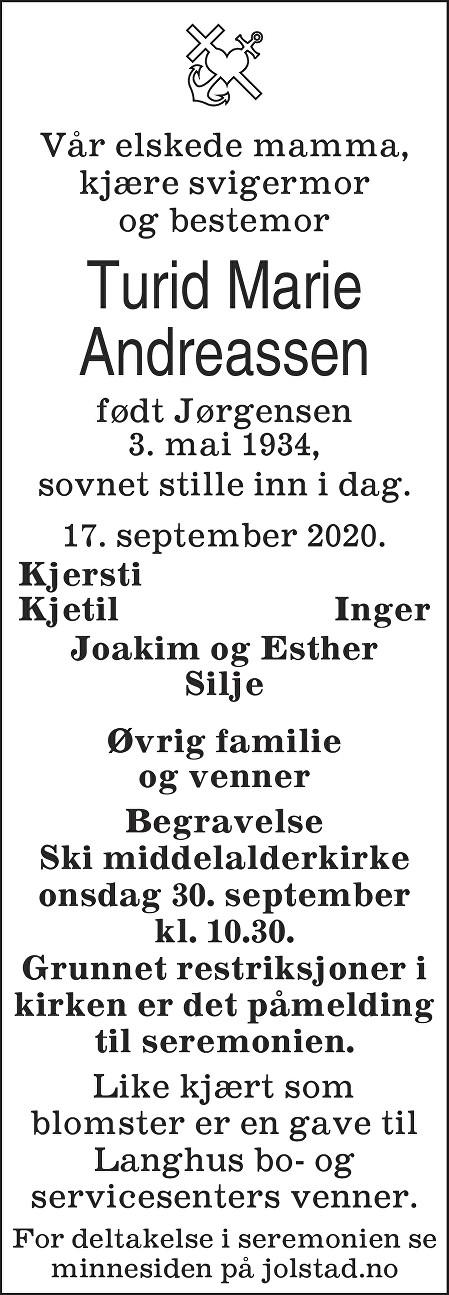 Turid Marie Andreassen Dødsannonse