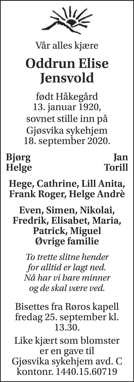 Oddrun Elise Jensvold Dødsannonse