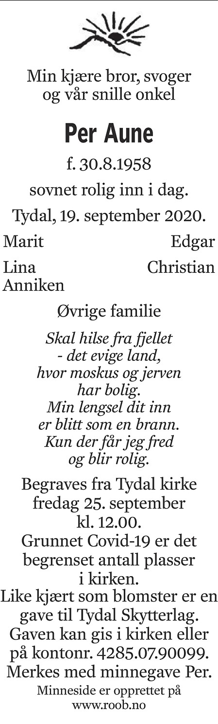 Per  Aune Dødsannonse
