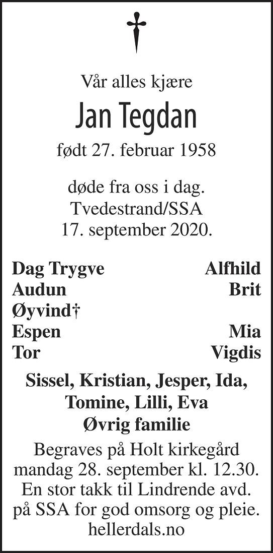 Jan Tegdan Dødsannonse